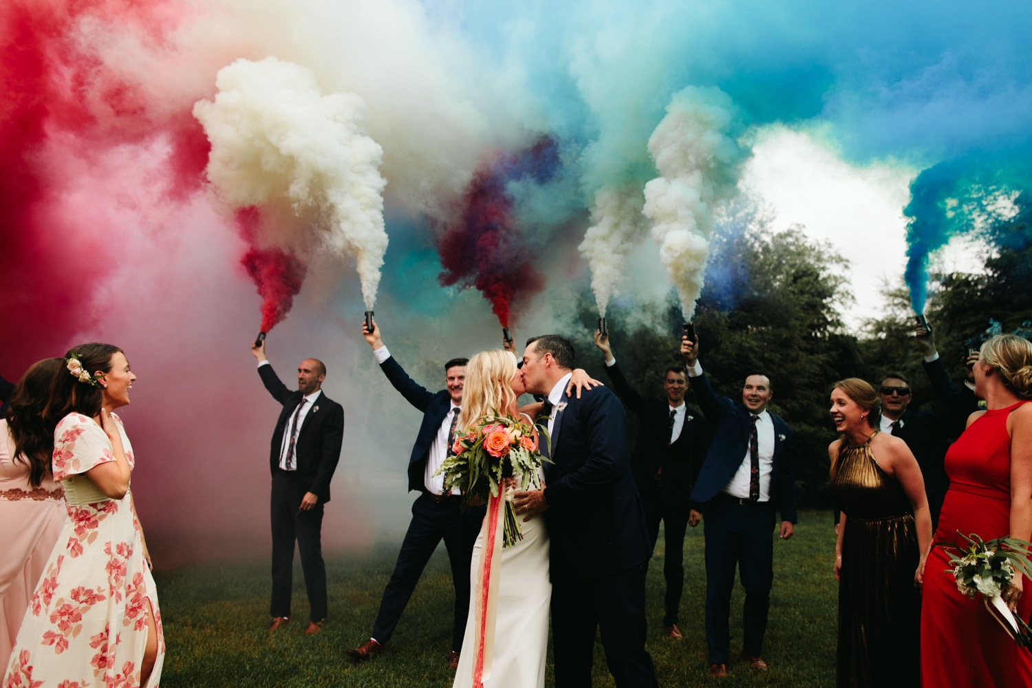 Vermont wedding bridal party- smoke bomb